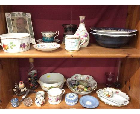 Decorative ceramics including Royal Worcester, Wedgwood Jasperware, Spode cup, glassware, various egg ornaments and bottle fi