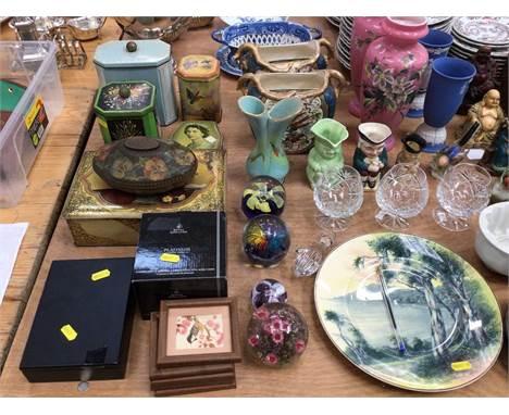 Group of ceramics to include Wedgwood Jasperware, Vintage tins, art glass paperweights, two wooden work boxes and sundriesCon