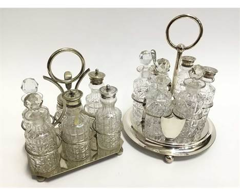 Two Edwardian silver plated cruet sets with assorted cut glass bottlesCondition report: Set on circular base- some dirt to in
