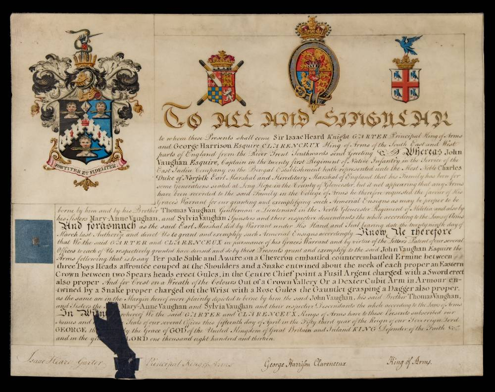 Lot 612 - GRANT OF ARMS : to John Vaughan,