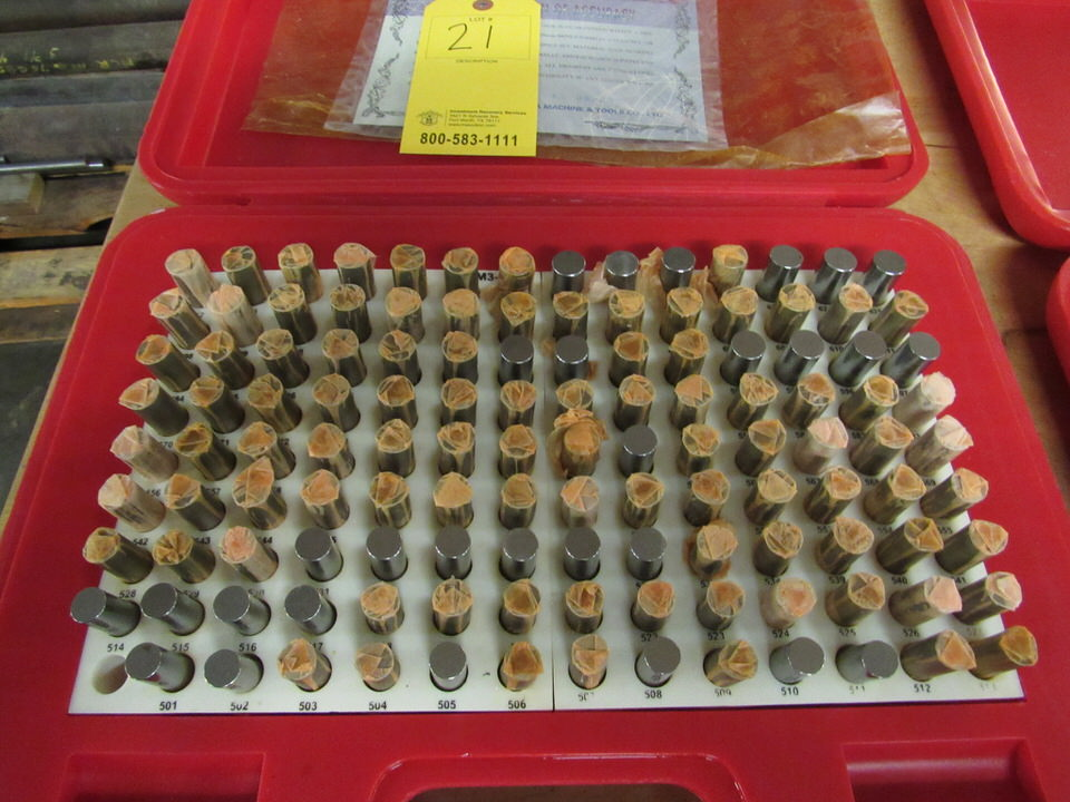 """Lot 21 - Changda Pin Gage Set, 125 pieces, 0.501"""" - 0.625"""", Minus M3-"""