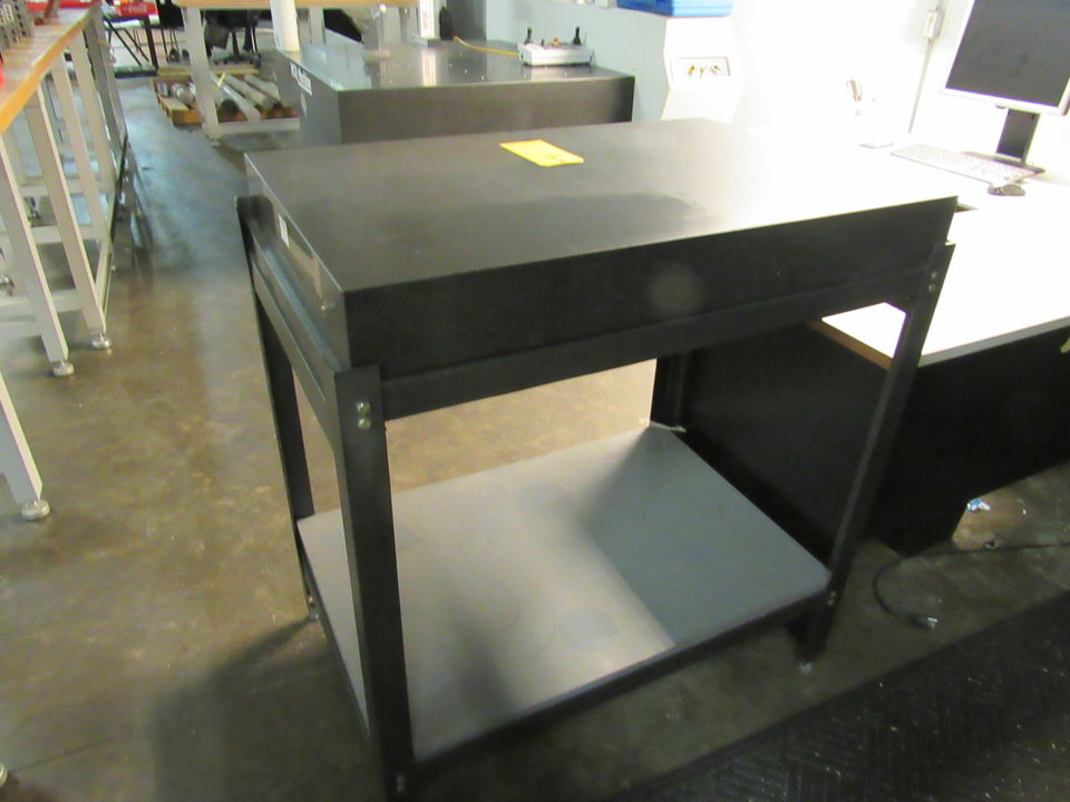 "24"" x 36"" x 4-1/4"" thick Granite table on black table stand, oad: 25"" x 37-1/2"" x 41"" high - Image 2 of 2"