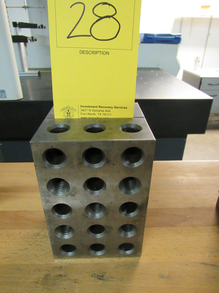 "Lot 28 - Set of (2) 4"" x 6"" x 2"" Precision Steel Blocks with 23 Holes"