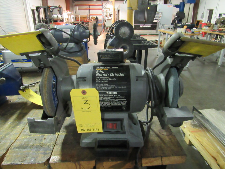 "Lot 3 - 8"" Craftsman Model 319.19063 Double End Bench Grinder, 8"" dia. x 1"" x 5/8"" arbor grinding wheel,"