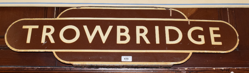 Lot 650 - A Great Western Railway (GWR) totem sign, TROWBRIDGE, with flanges to top and bottom, slight loss,