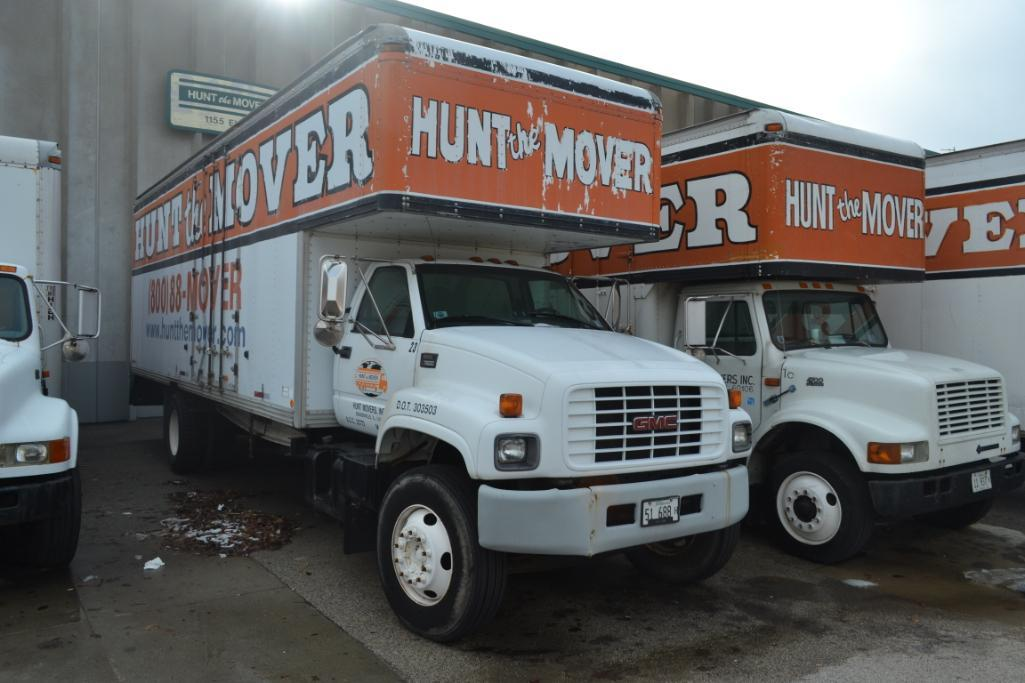 1999 GMC Single-Axle 26 ft. Box Moving Van Truck Model C7500, VIN 1GDL7H1D9XJ519539, NWC 26 ft. Move