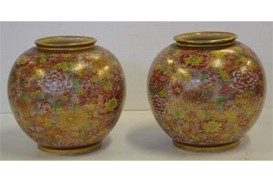 Pair Of Japanese Imperial Satsuma Vases Thousand Flower Vases Reign