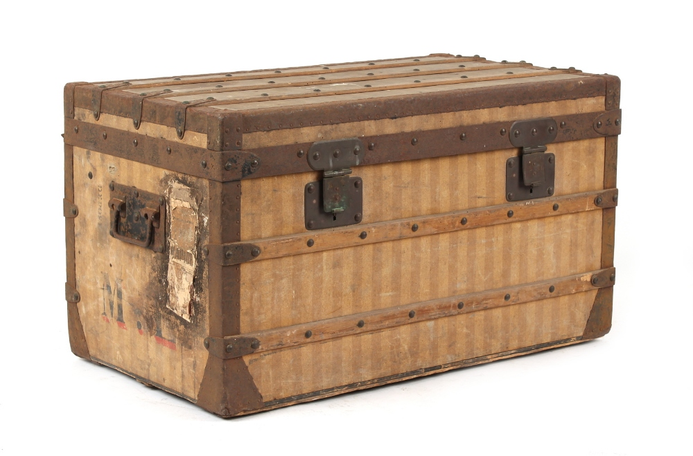 Lot 12 - Property of a lady - a 19th century Louis Vuitton rayee canvas trunk, circa 1885-1888, with