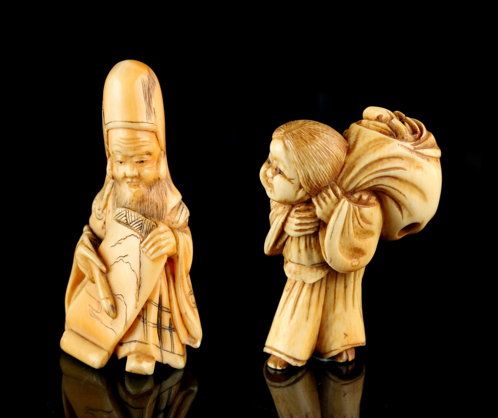Lot 49 - The Gill Collection of Japanese Netsukes - a carved ivory netsuke modelled as Okame carrying a large