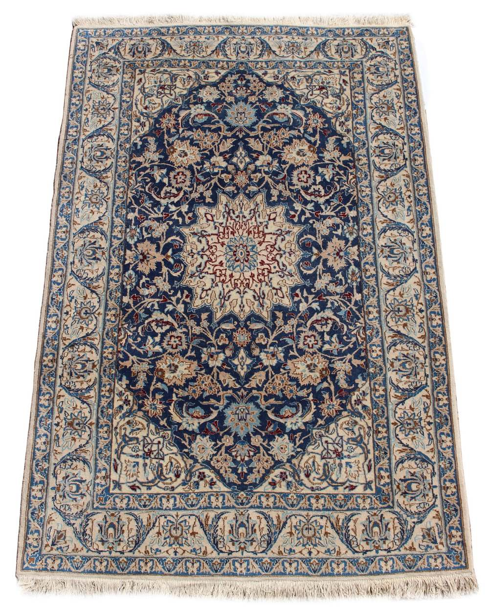 Lot 23 - Property of a gentleman - a mid 20th century Persian Isfahan part silk rug, with ivory field, 71