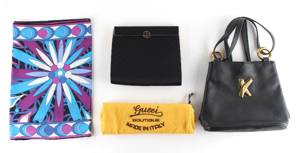 Lot 14 - Property of a lady - a Gucci black satin evening bag (with cloth bag); a Paloma Picasso black
