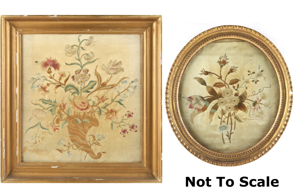 Lot 10 - Property of a lady - two 19th century silkwork pictures of flowers, in glazed gilt frames, the