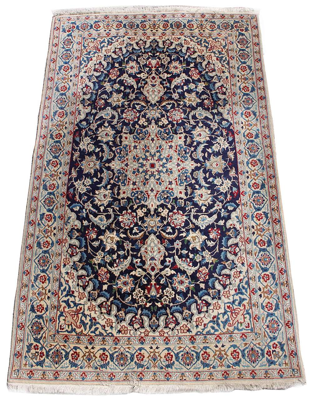 Lot 42 - Property of a gentleman - a good mid 20th century Persian Isfahan part silk rug, with ivory field,