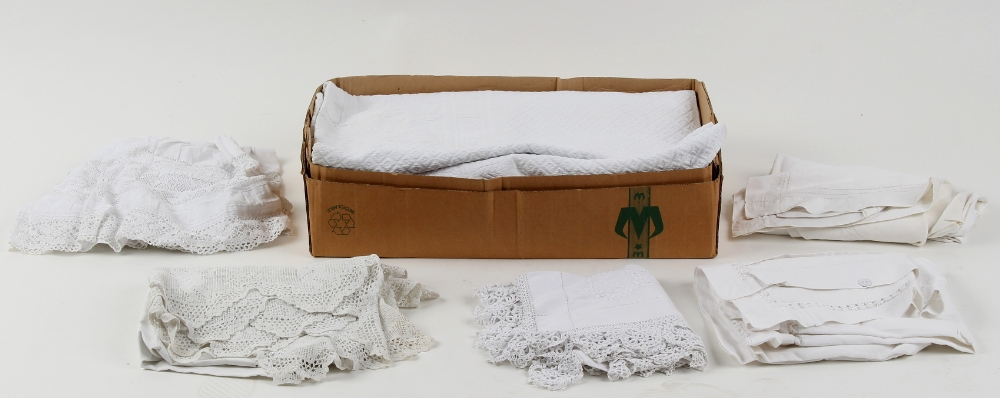 Lot 9 - Property of a gentleman - a box containing assorted white linen including Christening gowns (a