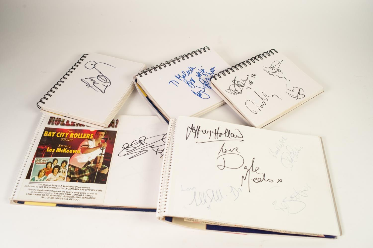 Lot 163 - FIVE BOLDMORE A4 & A5 SPIRAL BOUND WHITE CARTRIDGE SKETCH PADS FILLED WITH AUTOGRAPHS OF