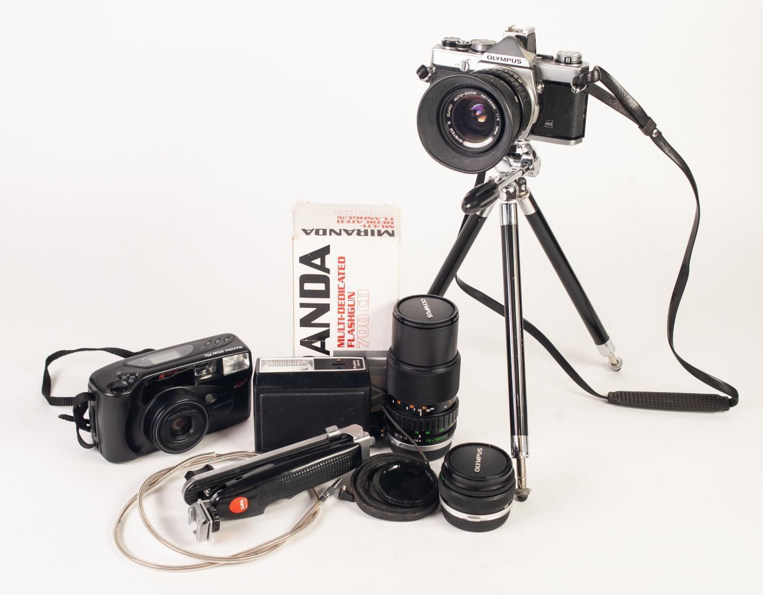 Lot 209 - OLYMPUS OM-1N 35mm SLR ROLL FILM CAMERA, WITH f4, 28-48mm ZOOM LENS, together with an OLYMPUS f4,