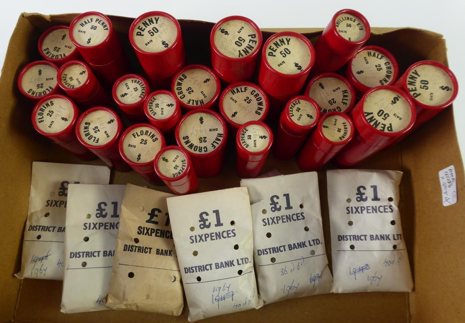 Lot 25 - SELECTION OF QUEEN ELIZABETH II MINT COINS IN BANK-ISSUE RED CARDBORD TUBES, viz five tubes each
