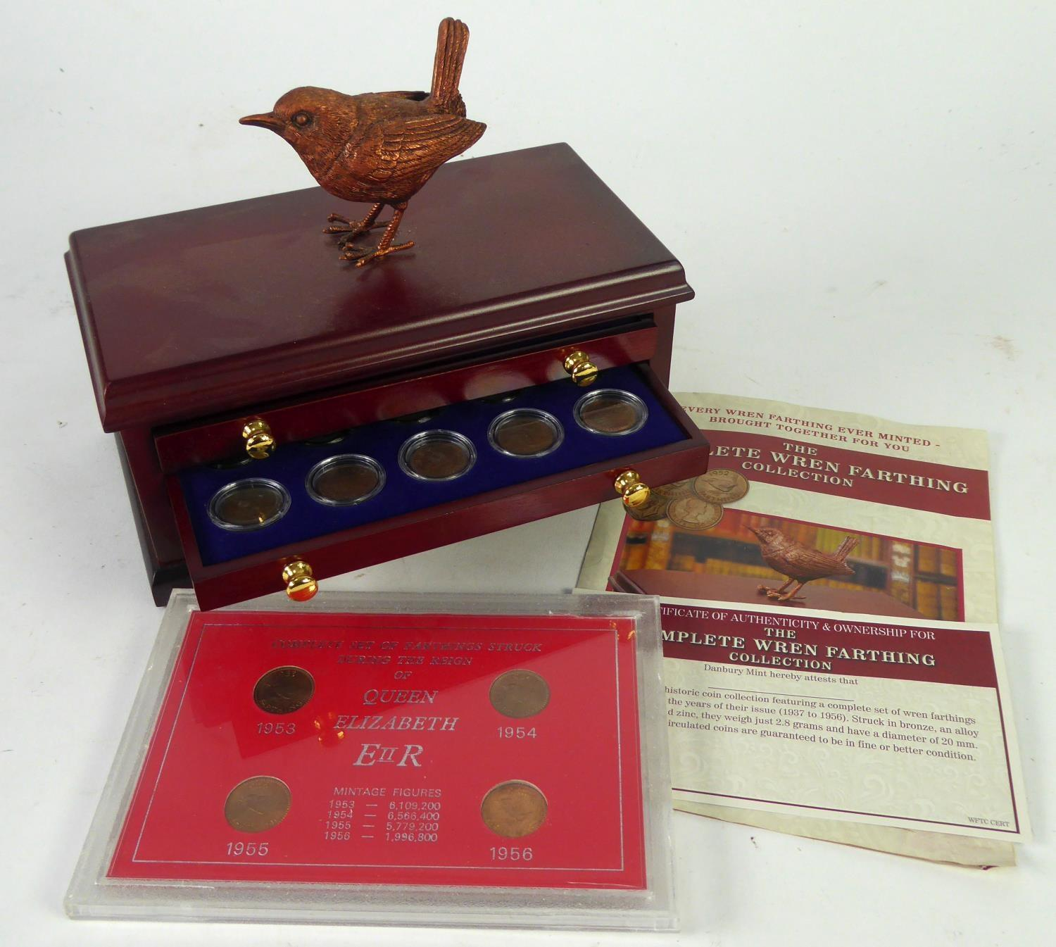 "Lot 51 - DANBURY MINT ""THE WREN FARTHING COLLECTION"" OF TWENTY FARTHINGS from 1937 onwards stored in THREE"