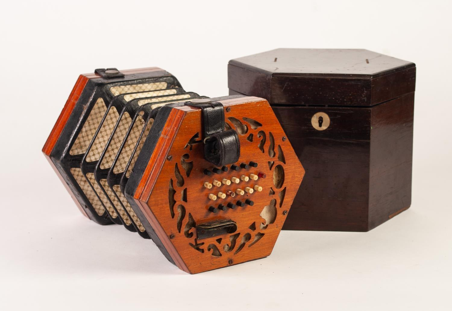 Lot 204 - LACHENEL AND CO., LONDON, LATE NINETEENTH CENTURY CONCERTINA, of hexagonal form, with fret pierced