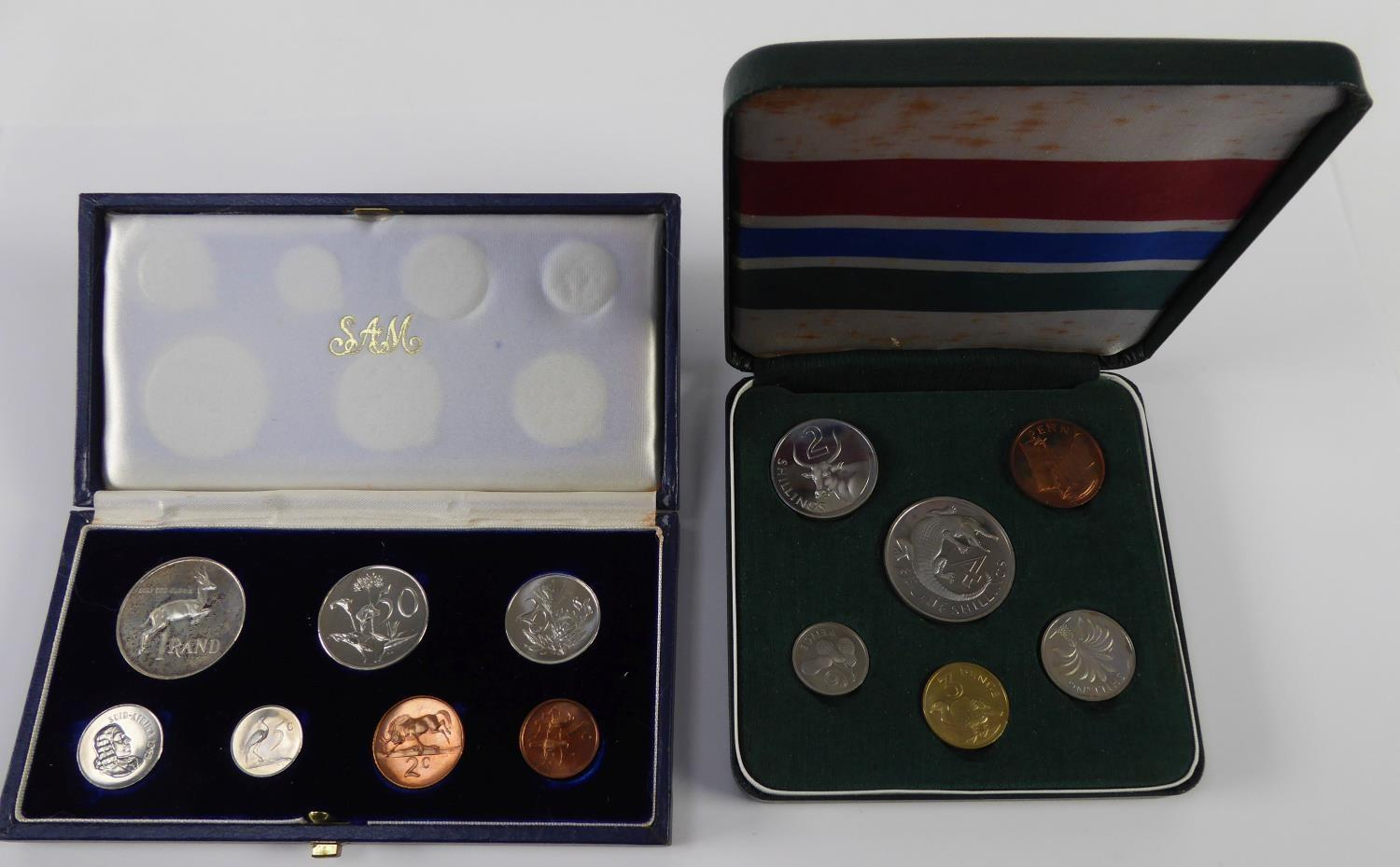 Lot 37 - SOUTH AFTICA PROOF SET OF SEVEN COINS, 1965 includes one rand to one cent, a similar SET OF SIX