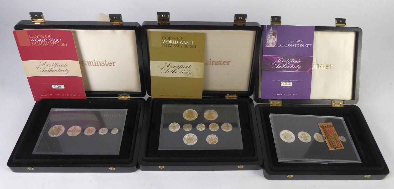 Lot 50 - THREE WESTMINSTER BOXED SETS OF COLLECTORS COINS EACH COIN EMBELLISHED IN GOLD AND SILVER viz