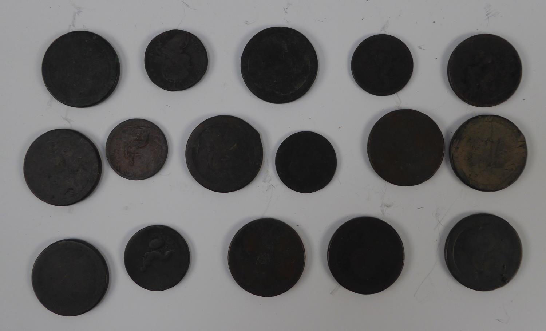 Lot 55 - ELEVEN GEORGIAN COPPER PENNIES AND 10 GEORGIAN HALF PENNY COPPER COINS (21)