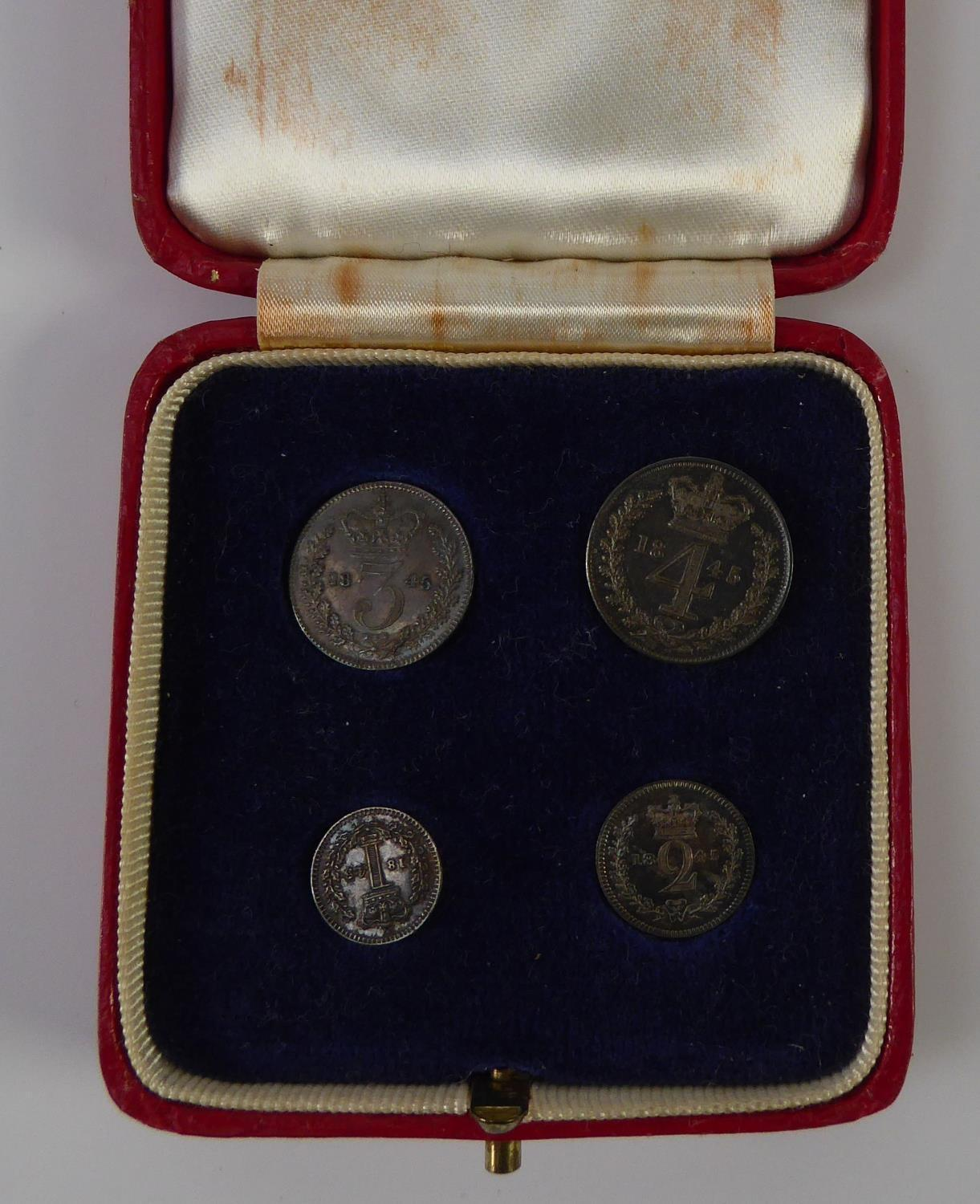 Lot 19 - VICTORIA MAUNDY SET OF FOUR SILVER COINS 1845, in uncirculated condition, viz four pence (groat),