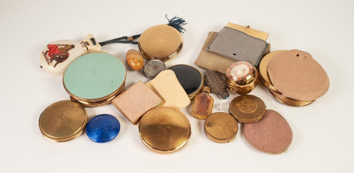 Lot 347 - FOURTEEN VARIOUS METAL LADIES COMPACTS, another orb shape gilt metal COMPACT, two metal mounted