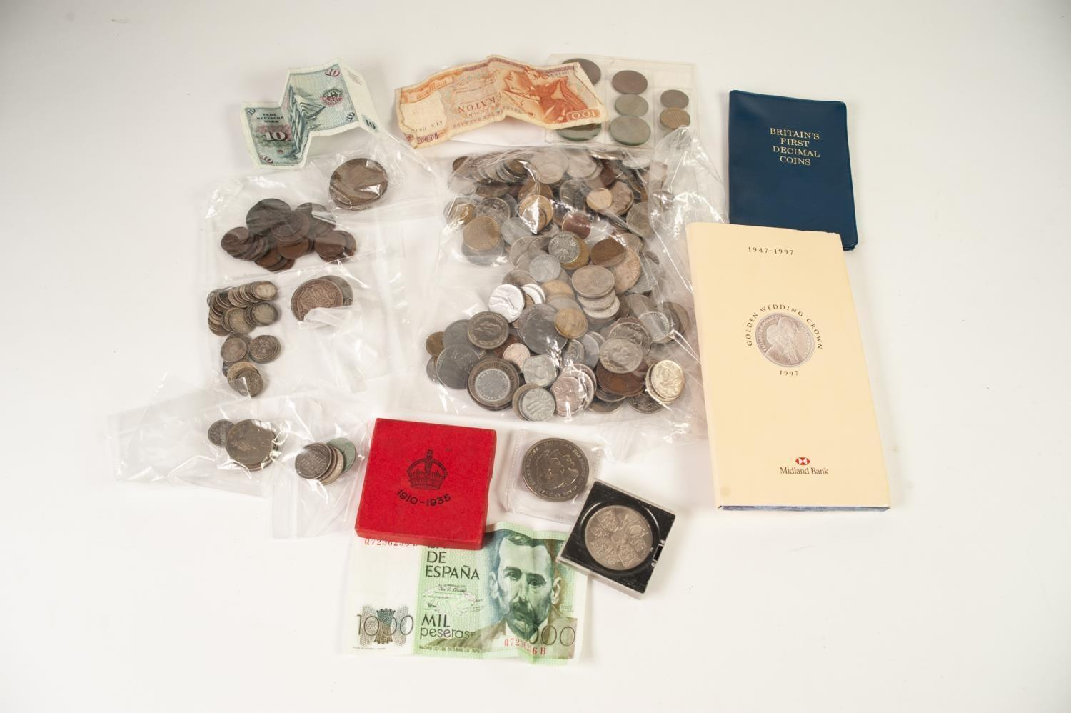 Lot 44 - SELECTION OF PRE- AND POST-WAR BRITISH AND FOREIGN COINAGE including three 1935 and 1937 crowns (EF)