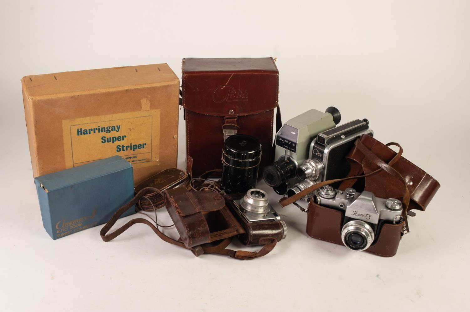 Lot 208 - FENITZ USSR SLR CAMERA No 3M, in original brown leather case, PAXETTE SLR CAMERA by Braun Norberg,