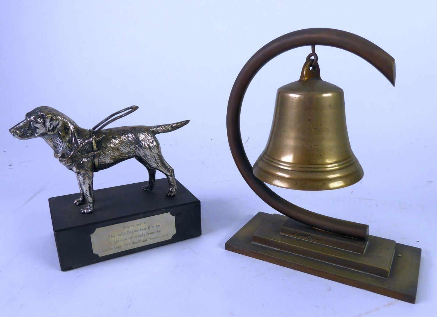 Lot 465 - BRASS SHIP'S BELL PATTERN GONG suspended in a brass 'C' shaped stand, on brass stepped oblong