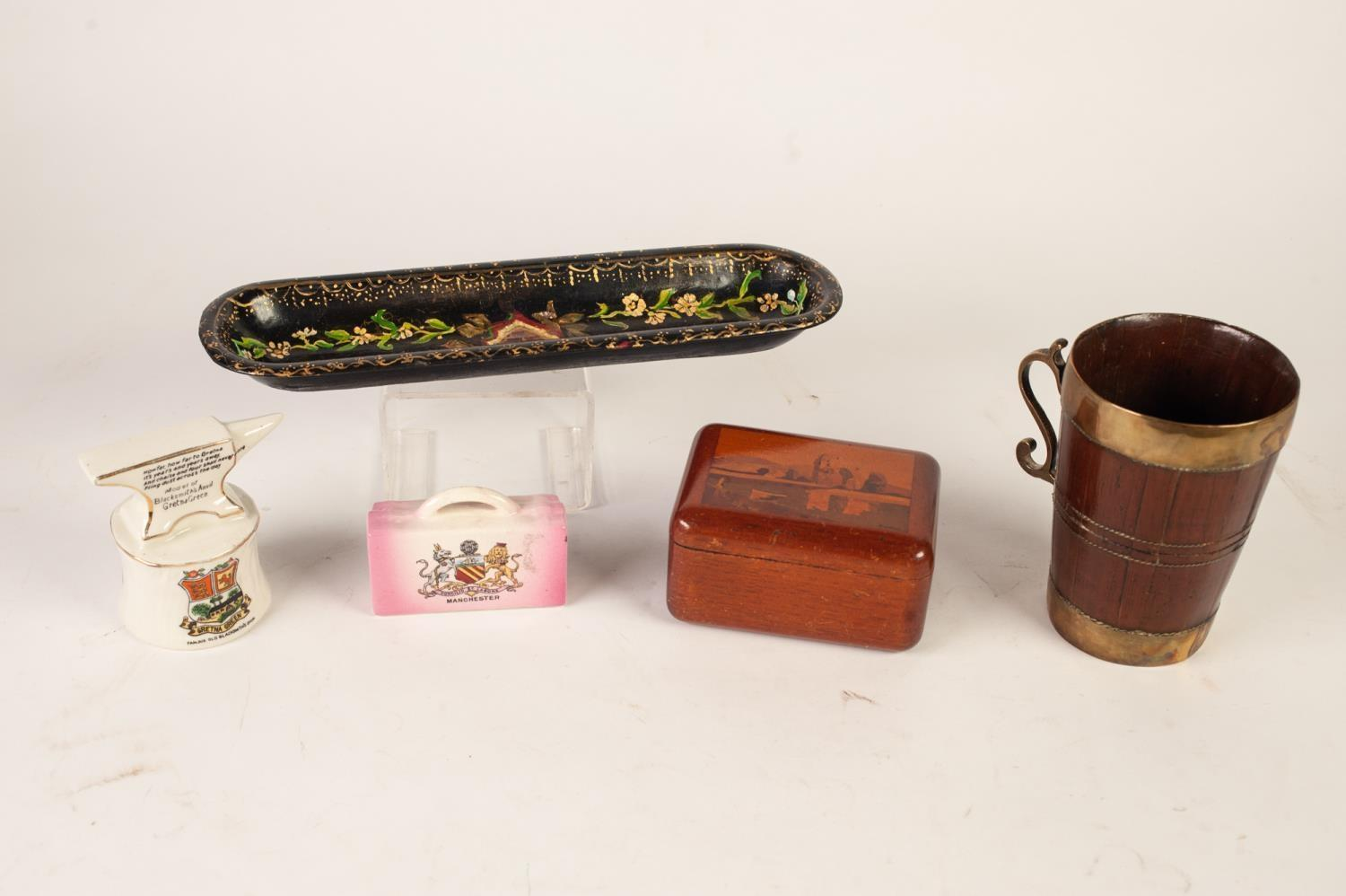 """Lot 379 - NINETEENTH CENTURY DUTCH STAVED/COOPERED CEDARWOOD TANKARD, with brass mounts and handle, 5"""" 12.7cm)"""