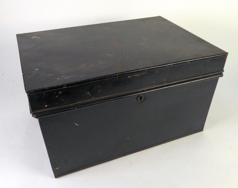 """Lot 466 - BLACK JAPANNED METAL LARGE DEED BOX, 18 1/2"""" x 13"""" x 10 1/4"""" (46.9 x 33 x 26cm)"""