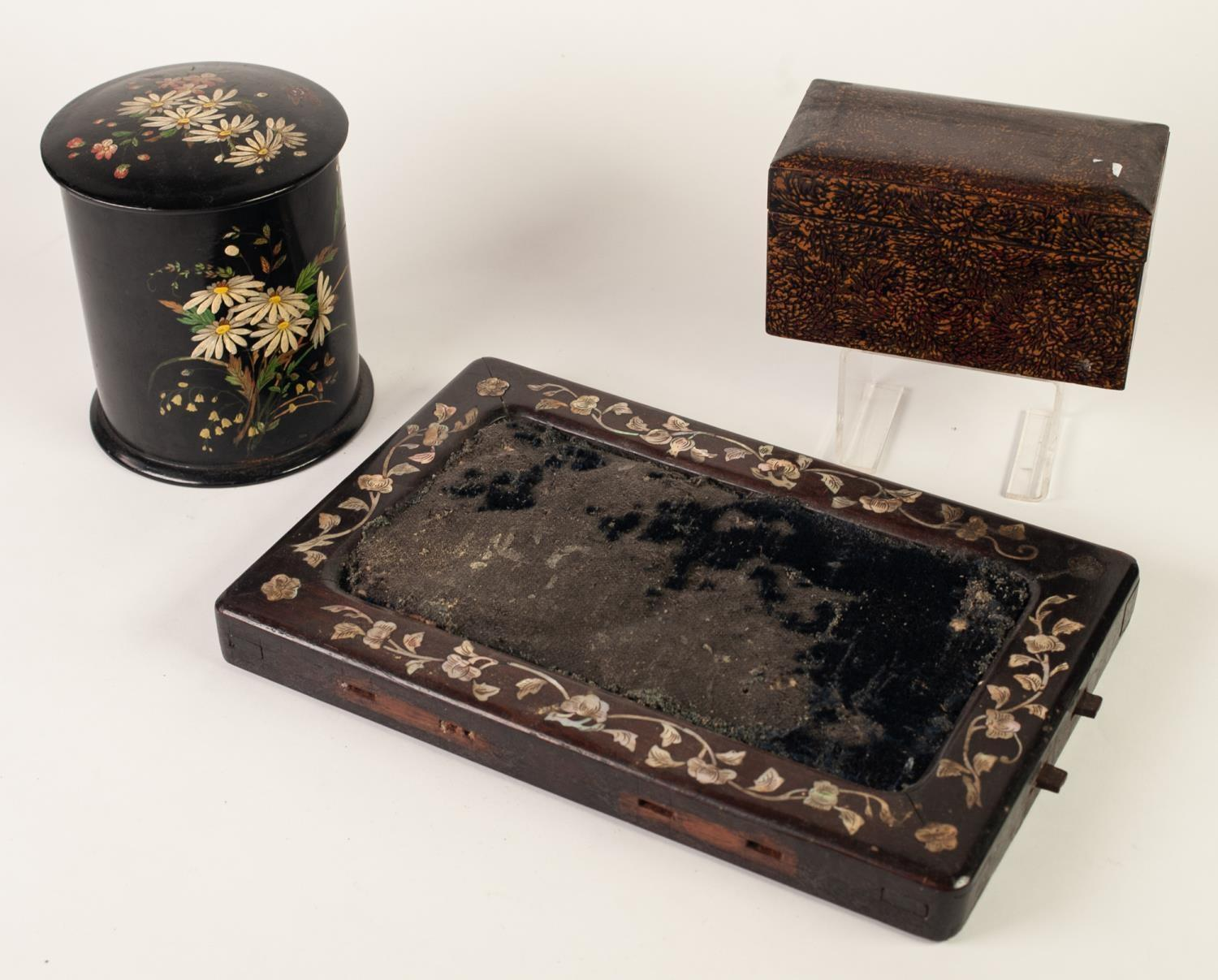 Lot 425 - ORIENTAL OBLONG LACQUERED BOX AND COVER, all over design of petals or leaves, interior with three