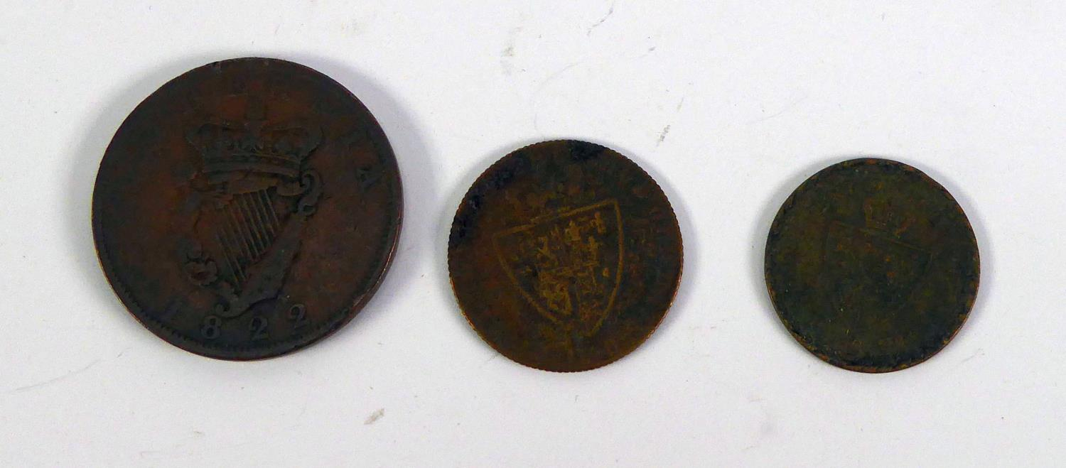 Lot 57 - GEORGE III IRISH COPPER PENNY 1822, AND TWO OTHER GEORGE III PIECES dated 1768 and 1800