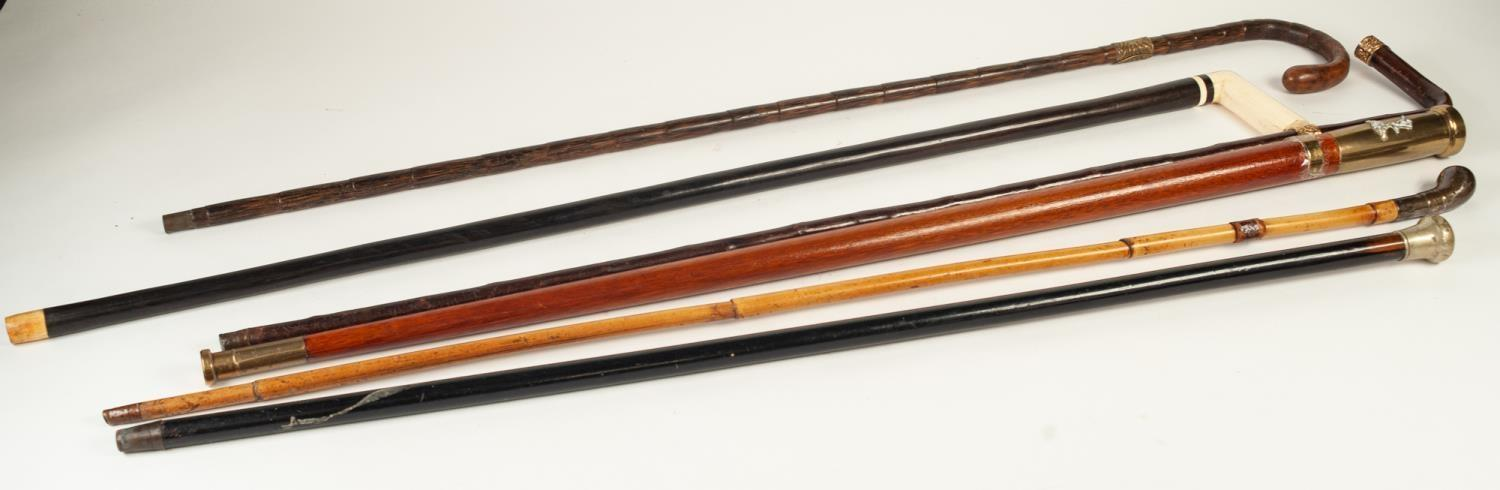 Lot 343 - SIX ASSORTED EARLY 20th CENTURY AND LATER WALKING STICKS, bone handled and pinchbeck mounted