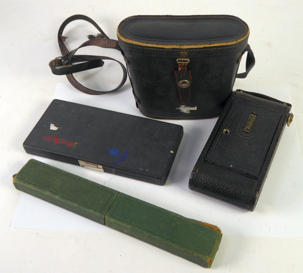 Lot 219 - KODAK 1A AUTOGRAPHIC BELLOWS FOLDING ROLL FILM CAMERA, black textured leather clad, a pair of