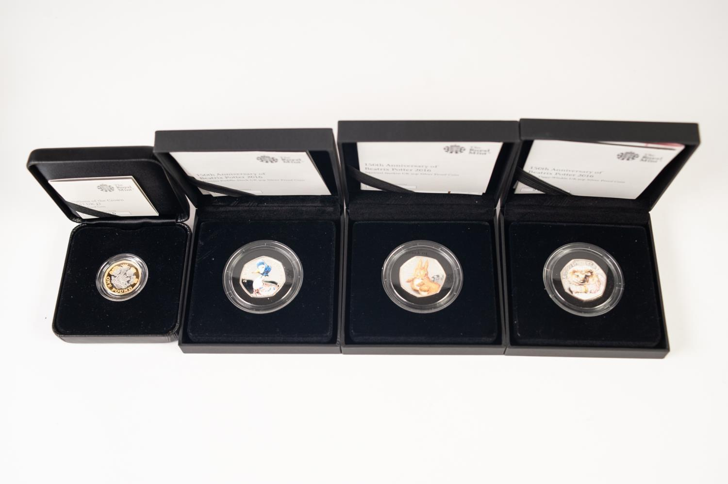 Lot 4 - THREE ROYAL MINT BEATRIX POTTER 150th ANNIVERSARY PROOF SILVER 50 PENCE PICTORIAL COINS 2016, each a