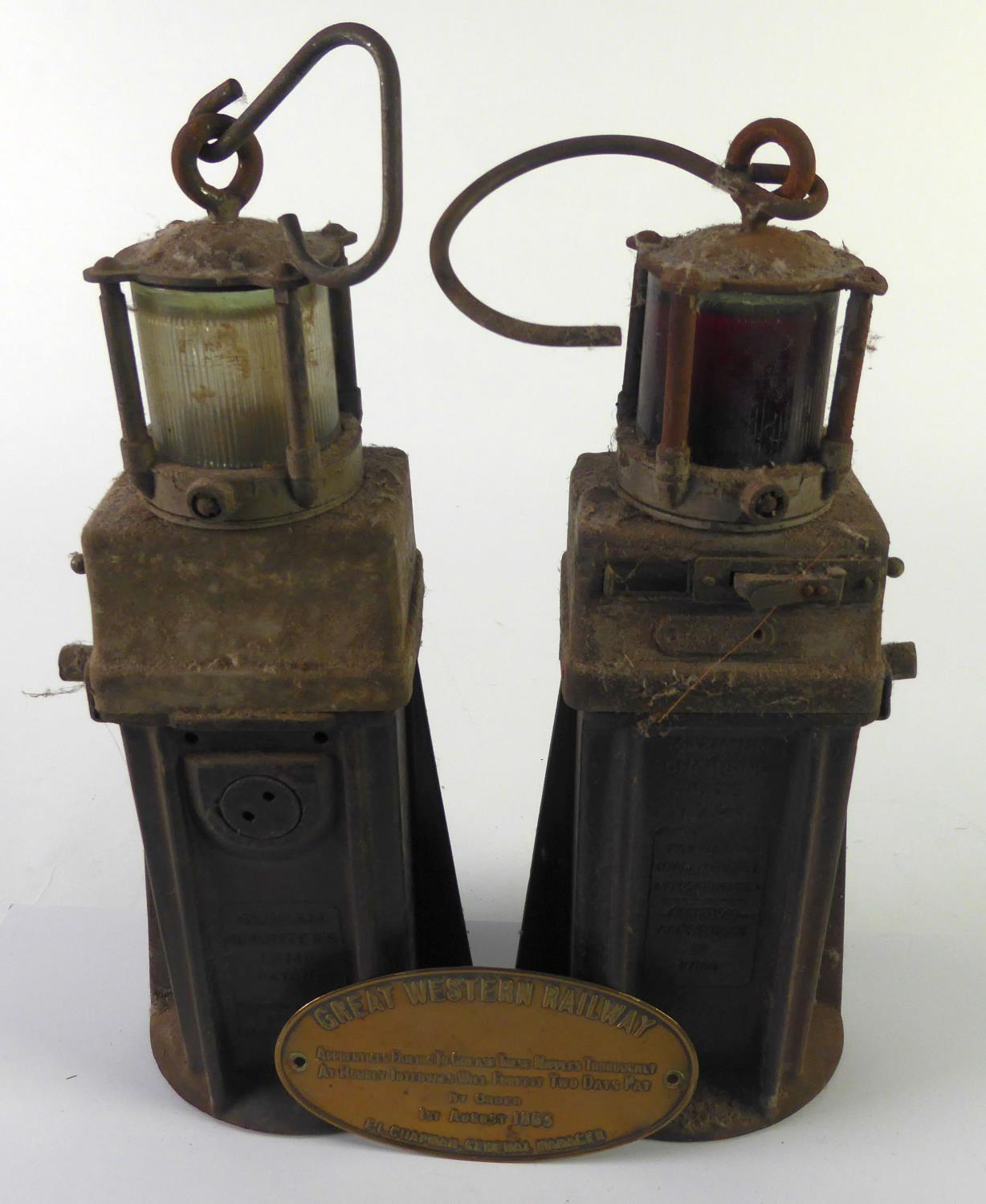 "Lot 454 - OLDHAM & SONS, DENTON, MANCHESTER, TWO SHUNTERS' HEAVY BATERY ELECTRIC SAFETY LANTERNS, 12"" (30.4cm)"