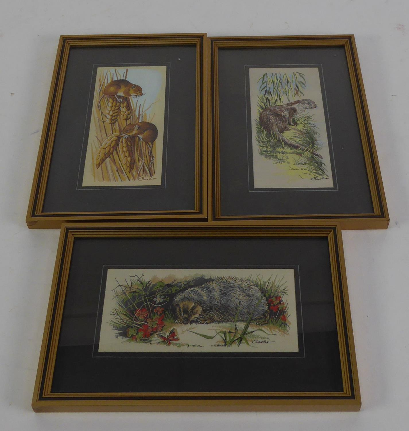 Lot 391 - THREE J. & J. CASH LTD. COVENTRY SILKWORK PICTURES OF ANIMALS IN NATURAL SURROUNDINGS, 'Wildlife
