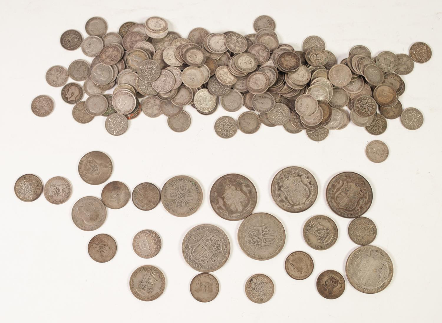 Lot 12 - APPROXIMATELY 220 GEORGE V SILVER THREE PENCE PIECES, mainly VF, together with 22 OTHER PIECES OF