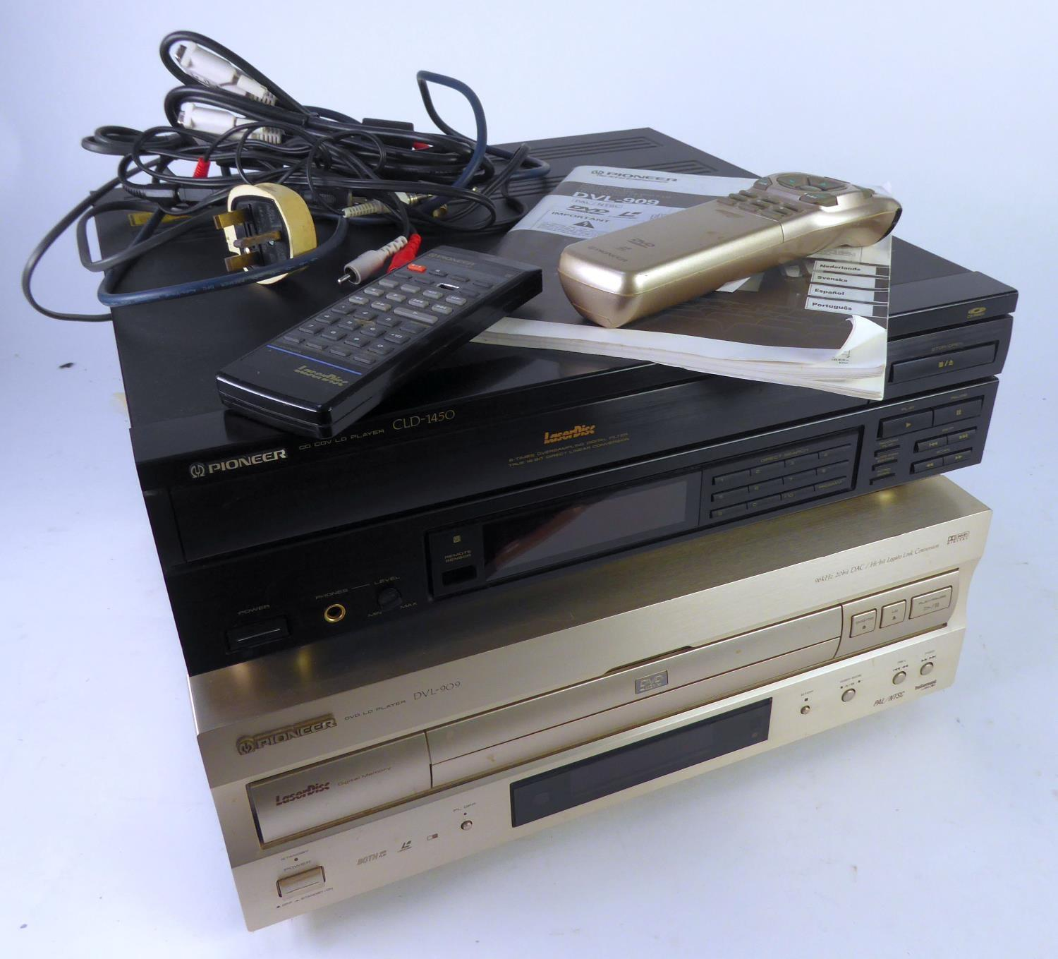 Lot 324 - PIONEER LASER DISC PLAYER, model CLD-1450, plus remote control, TOGETHER WITH ANOTHER PIONEER