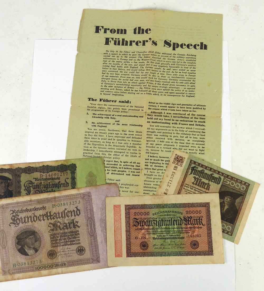 Lot 45 - FOUR GERMAN BANK NOTES, and a page of text, 'From the Fuhrer's Speech', (5)
