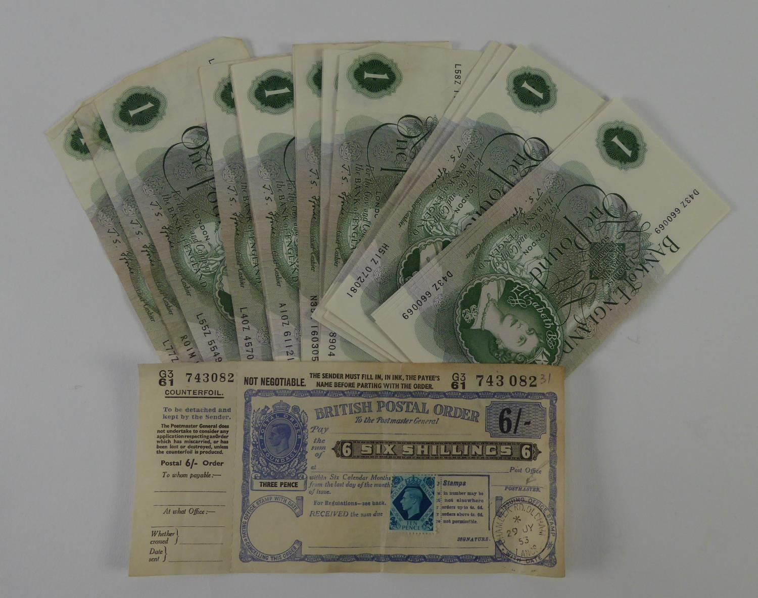Lot 32 - THIRTY ONE QUEEN ELIZABETH II GREEN ONE POUND BANK NOTES, J.S. FFORDE, CHIEF CASHIER, including