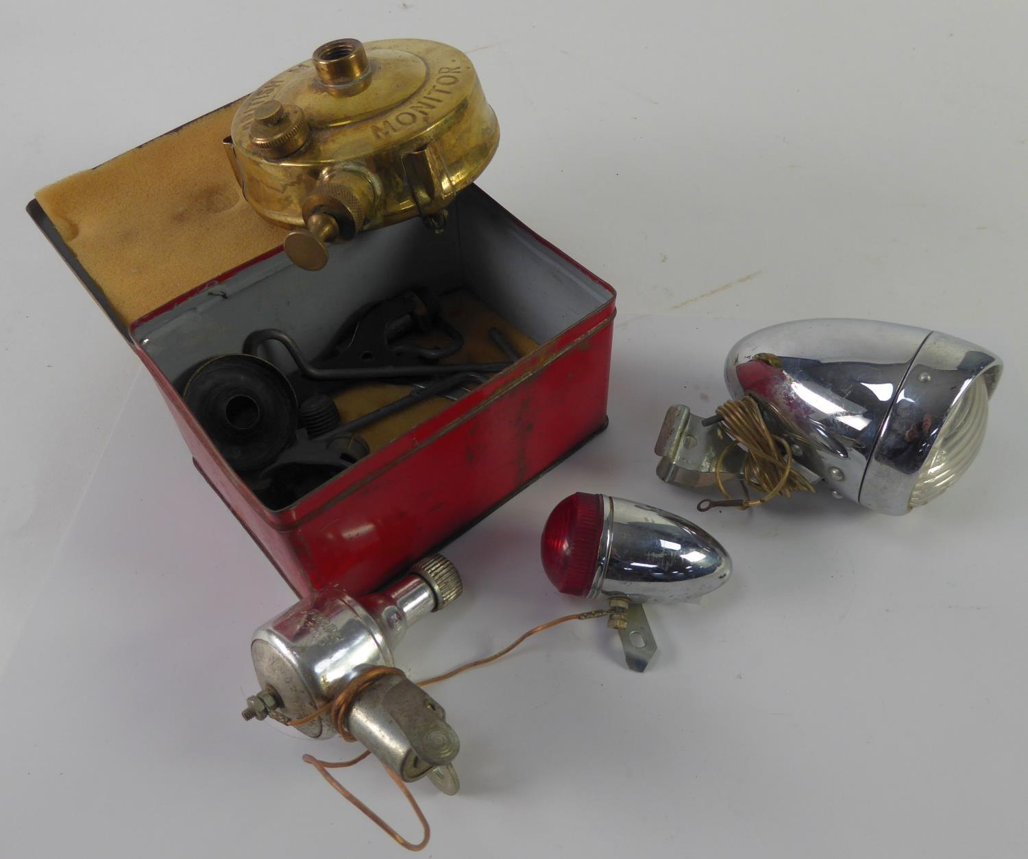 Lot 456 - 'MONITOR' TOURING STOVE, British made, compact primus type stove, in original pictorial lidded tin