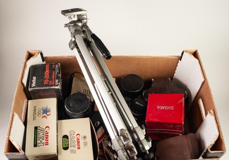 Lot 211 - CANON AE1 PROGRAM ROLL FILM CAMERA, a NIKON F-301 roll film camera, a PENTAX K1000 roll film