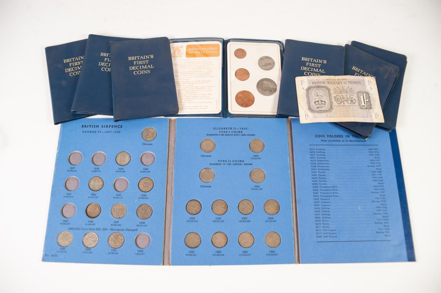 Lot 1 - SEVEN PLASTIC COIN WALLETS 'BRITISH FIRST DECIMAL COINS' 1971, a BLUE COIN FOLDER OF SIX PENCE