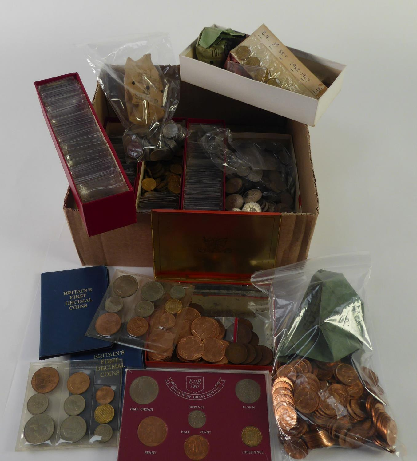 Lot 28 - VERY LARGE SELECTION OF QUEEN ELIZABETH II PRE-DECIMAL SILVER AND COPPER COINAGE, much in