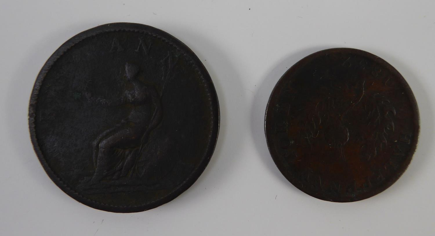 Lot 21 - WILLIAM IV PROVINCE OF NOVA SCOTIA HALF PENNY TOKEN 1832 (F) and a GEORGE III PENNY 1806, showing