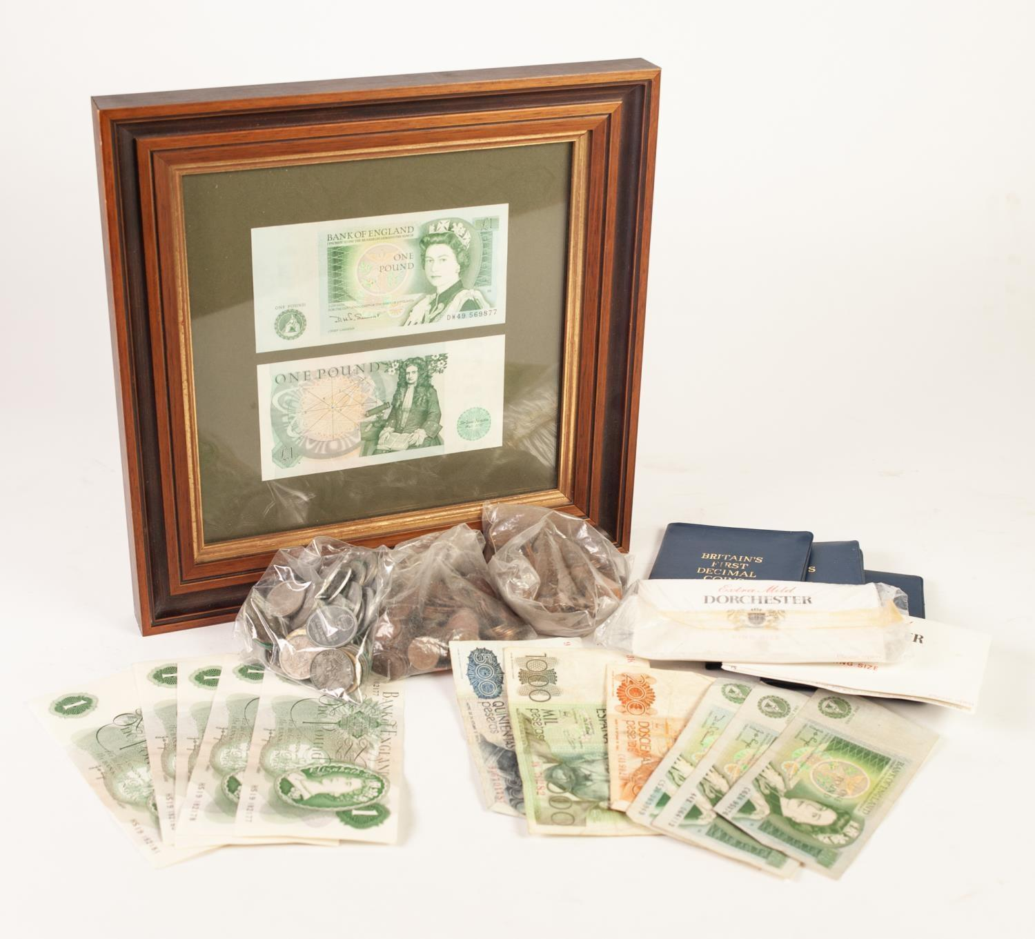 Lot 14 - TWO FRAMED QUEEN ELIZABETH II GREEN ONE POUND BANK NOTES, Somerset chief cashier, FIVE VIRTUALLY